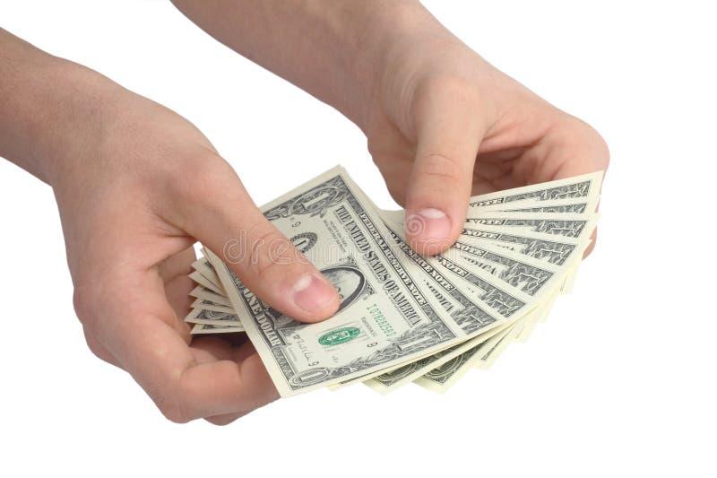 Main avec de l'argent images stock