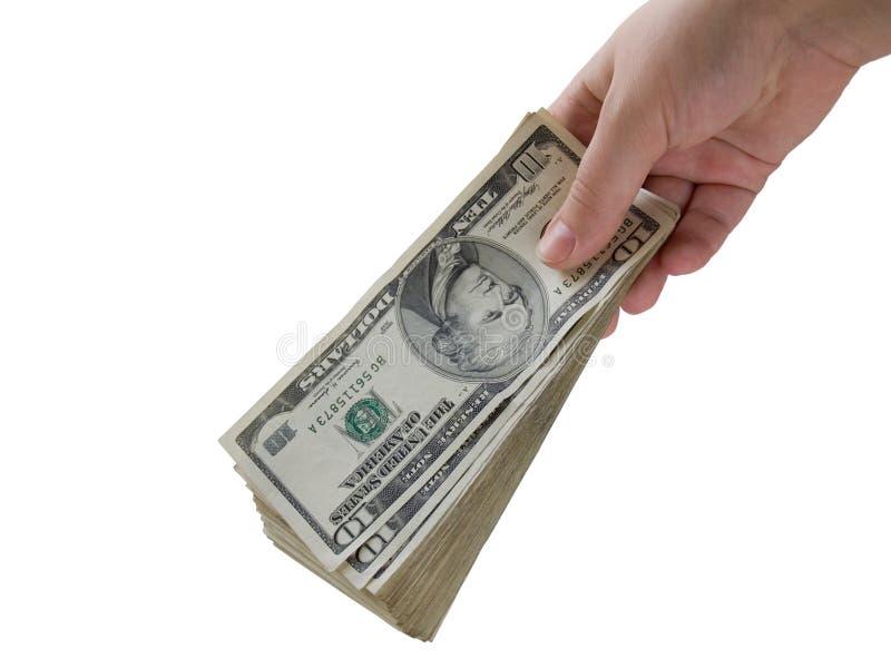 Main avec des dollars photos libres de droits
