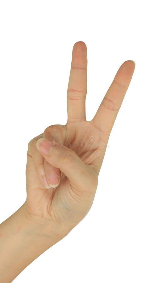Main avec deux doigts d'isolement sur le blanc images stock