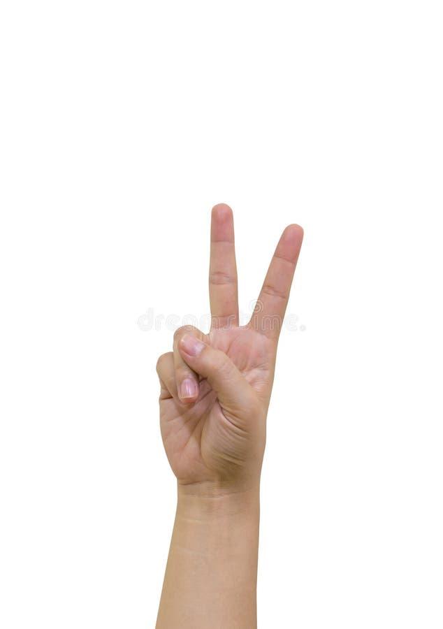 Main avec deux doigts vers le haut photos stock