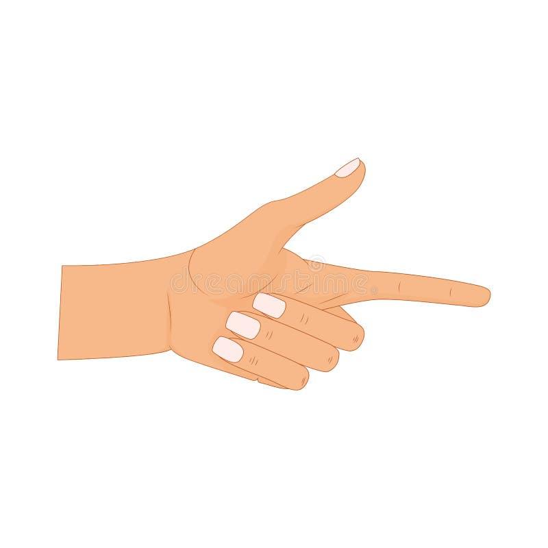 Main avec diriger le doigt, dirigeant des doigts, mains tirées par la main d'isolement sur le fond blanc Illustration de vecteur illustration de vecteur