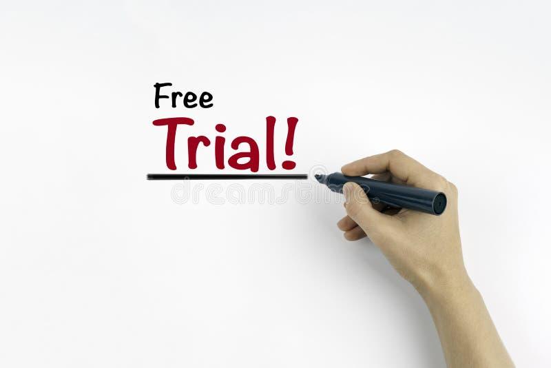 Main avec l'écriture de marqueur - essai gratuit image libre de droits
