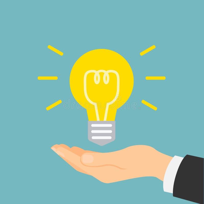 Main avec l'ampoule d'idée illustration stock