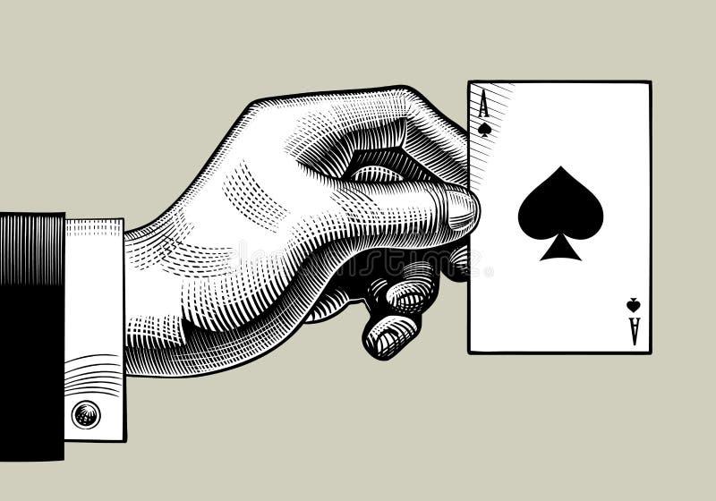 Main avec l'as de pique jouant la carte Styl de gravure de vintage illustration libre de droits