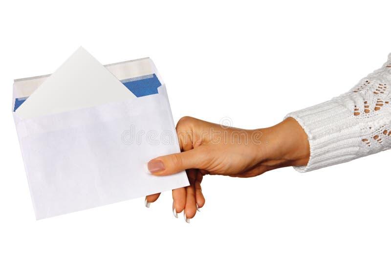 Main avec l'enveloppe images stock