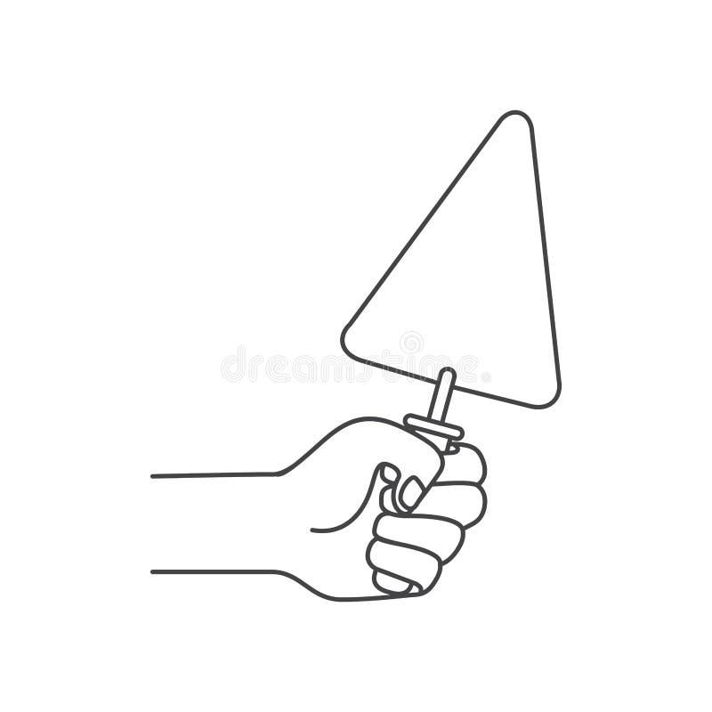 Main avec l'icône d'isolement par outil de spatule illustration libre de droits