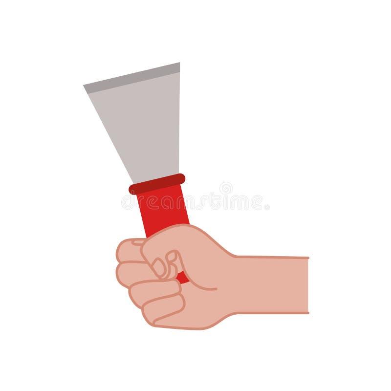 Main avec l'icône d'isolement par outil de spatule illustration stock