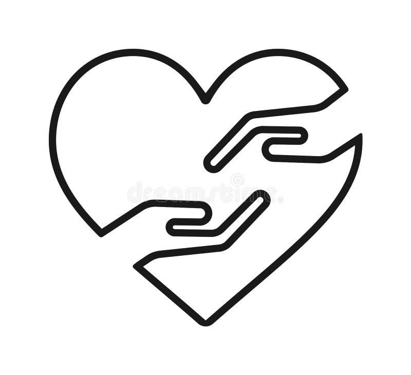 Main avec l'icône de coeur illustration stock