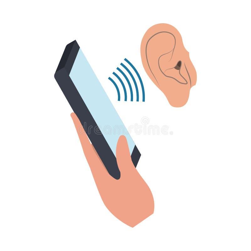 Main avec l'icône de dispositif de smartphone illustration de vecteur