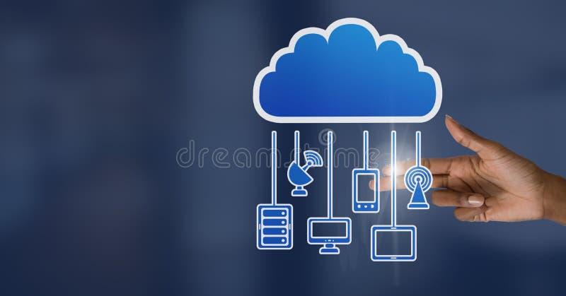 Main avec l'icône de nuage et les dispositifs accrochants de connexion images stock