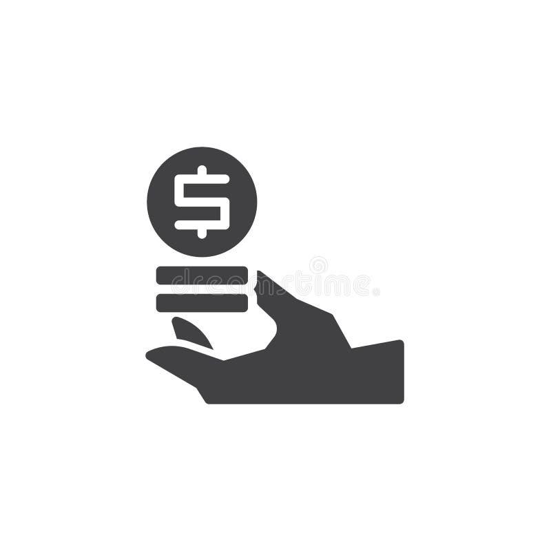 Main avec l'icône de vecteur de pièces de monnaie du dollar illustration de vecteur