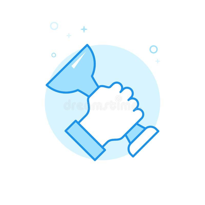Main avec l'icône plate de vecteur de trophée, symbole, pictogramme, signe Conception monochrome bleu-clair Course Editable illustration libre de droits
