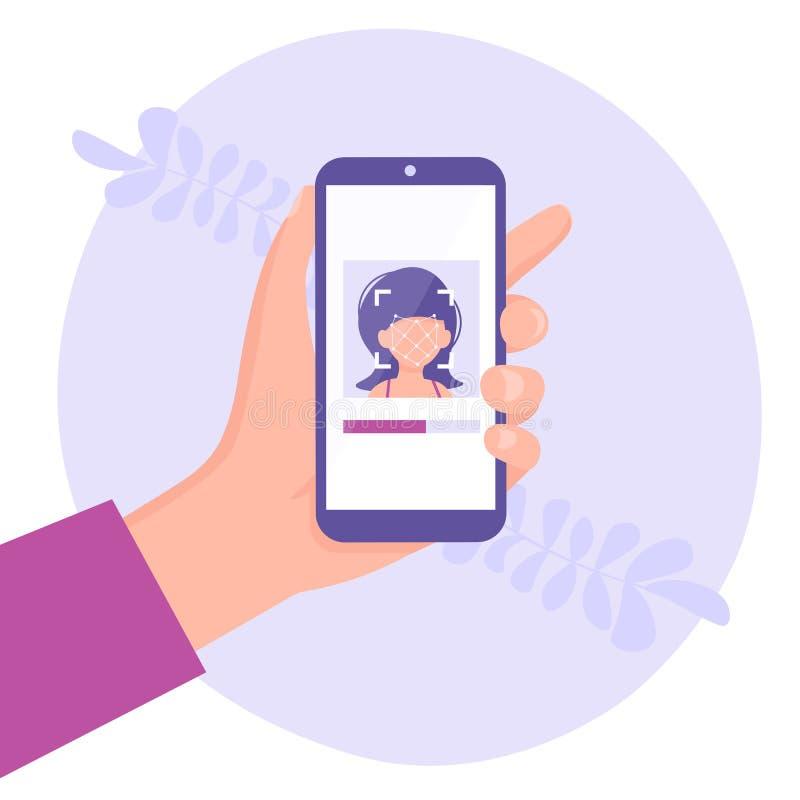 Main avec l'identification de visage de téléphone illustration de vecteur