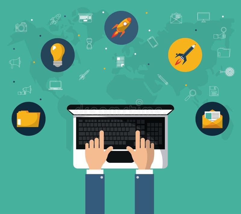 Main avec l'outil de site Web de marketing en ligne d'ordinateur portable illustration libre de droits
