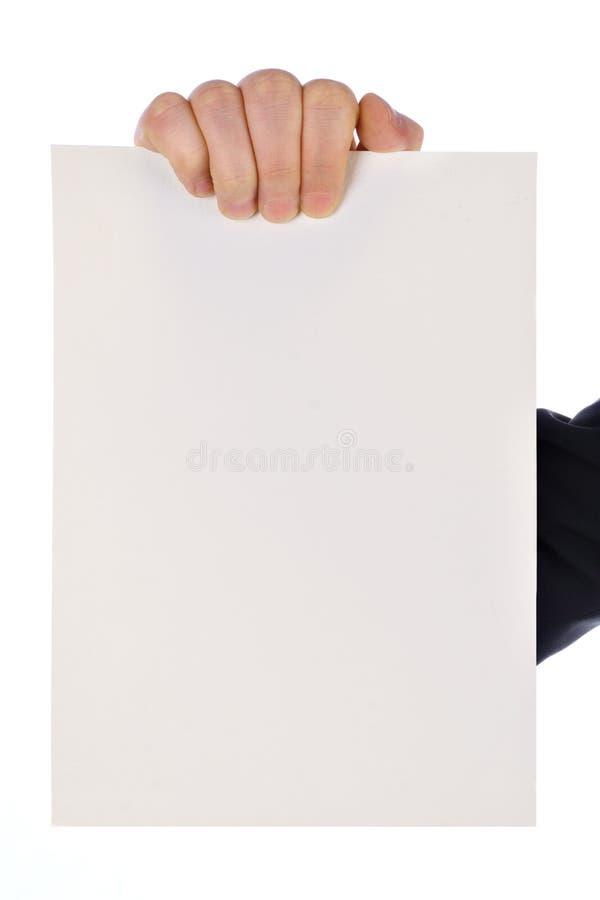 Main avec la carte vierge photo stock