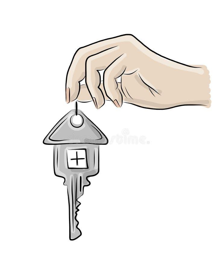 Main avec la clé de la maison, croquis pour votre conception illustration stock