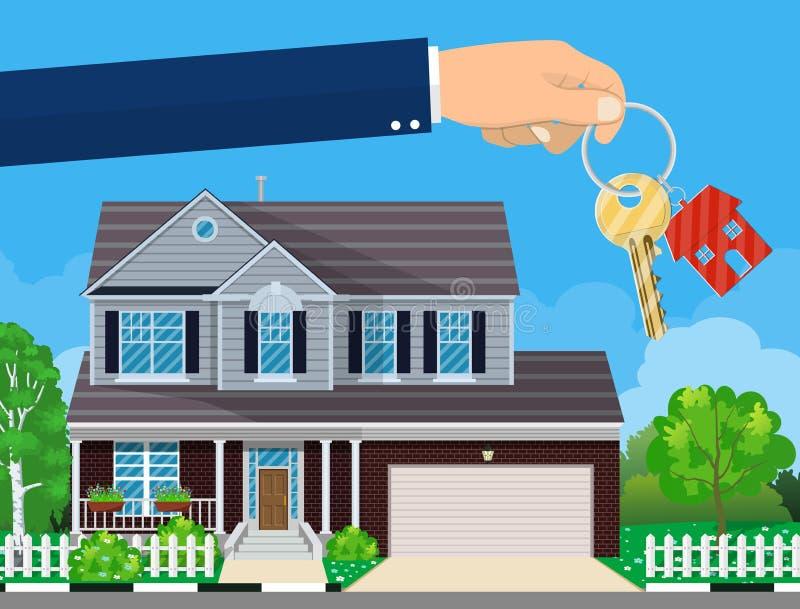Main avec la clé et le cottage de maison illustration libre de droits