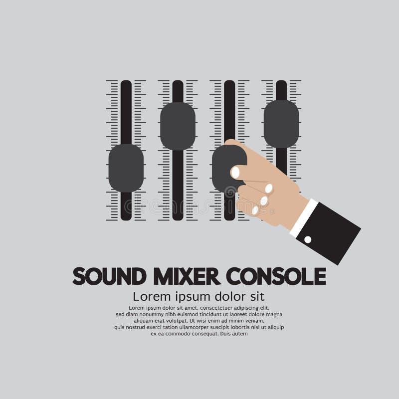 Main avec la console de mixeur son illustration de vecteur