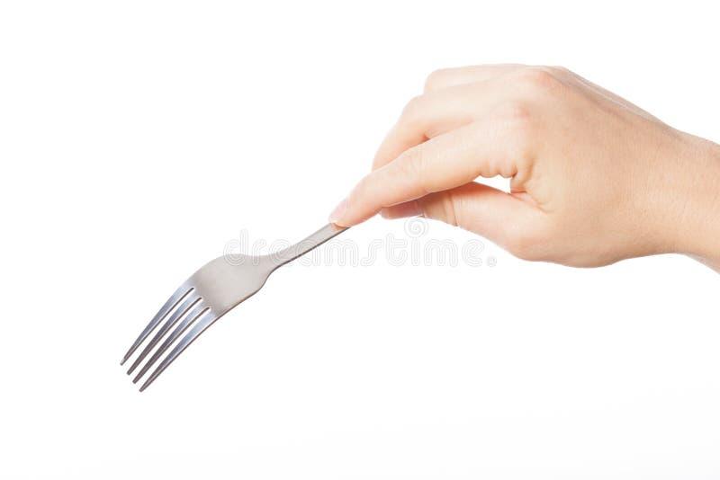 Main avec la fourchette photographie stock