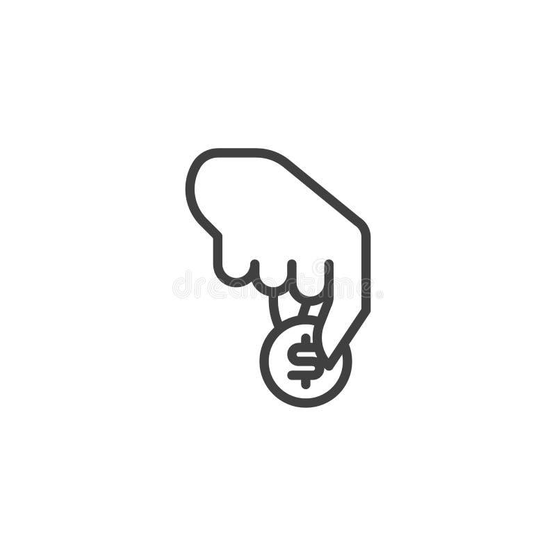 Main avec la ligne icône de pièce de monnaie du dollar illustration de vecteur