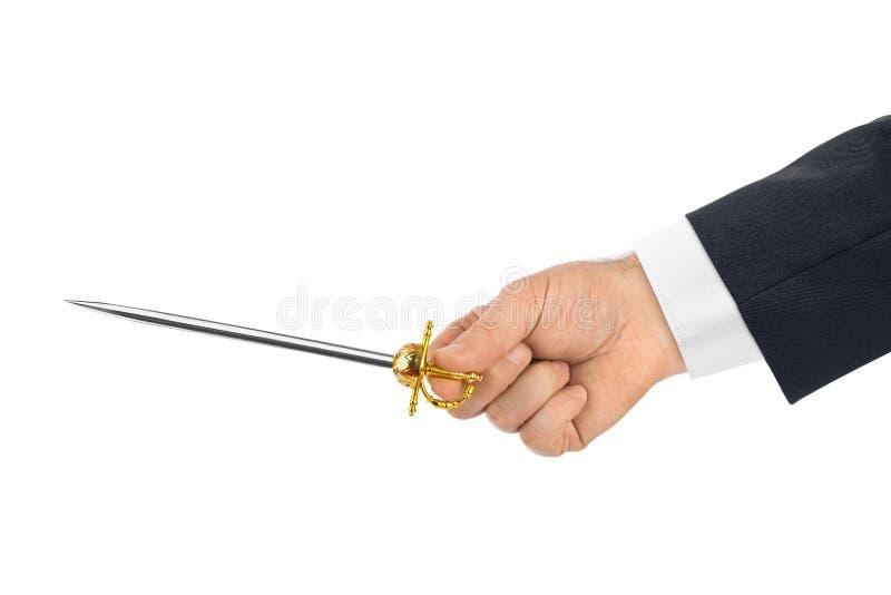 Main avec la petite épée images libres de droits