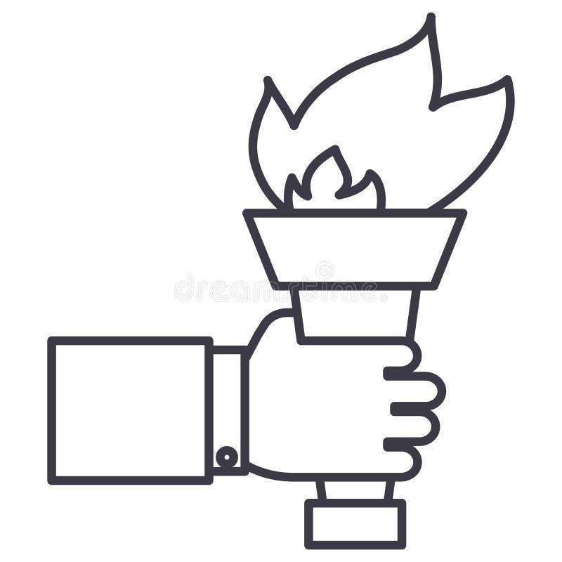 Main avec la torche du feu, réalisant la ligne icône de vecteur de but, signe, illustration sur le fond, courses editable illustration stock