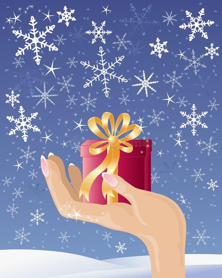 Main avec le cadeau de Noël illustration libre de droits