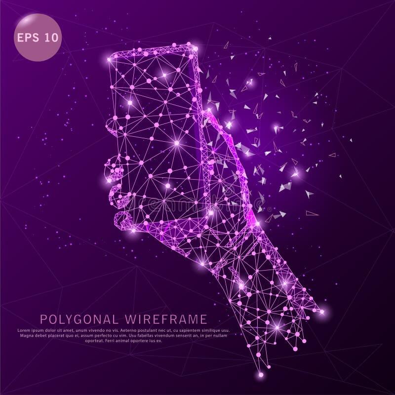 Main avec le cadre futuriste digitalement dessiné de fil de téléphone illustration de vecteur