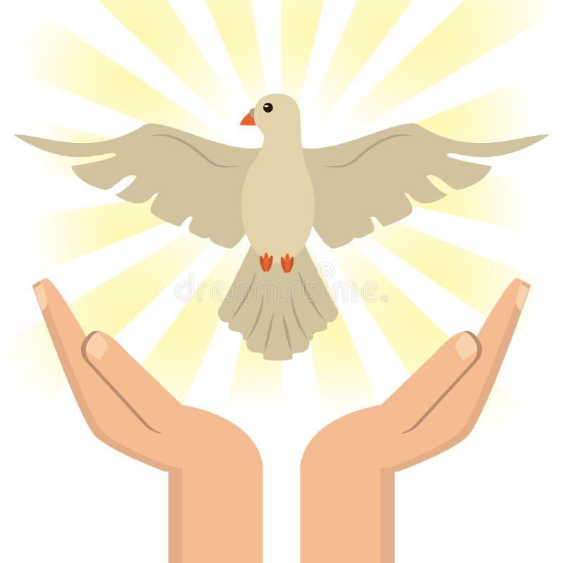 Main avec le catholique de Saint-Esprit illustration stock
