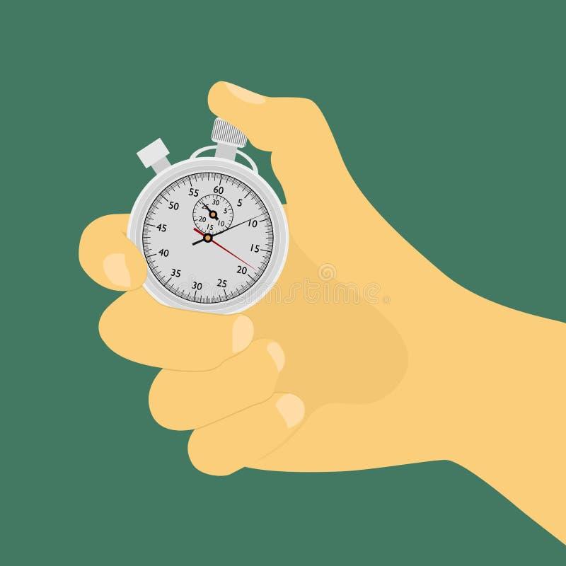 Main avec le chronomètre illustration de vecteur