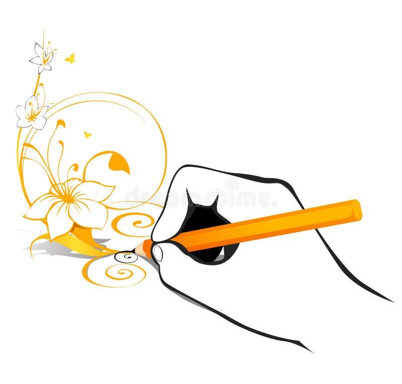 Main avec le crayon illustration libre de droits