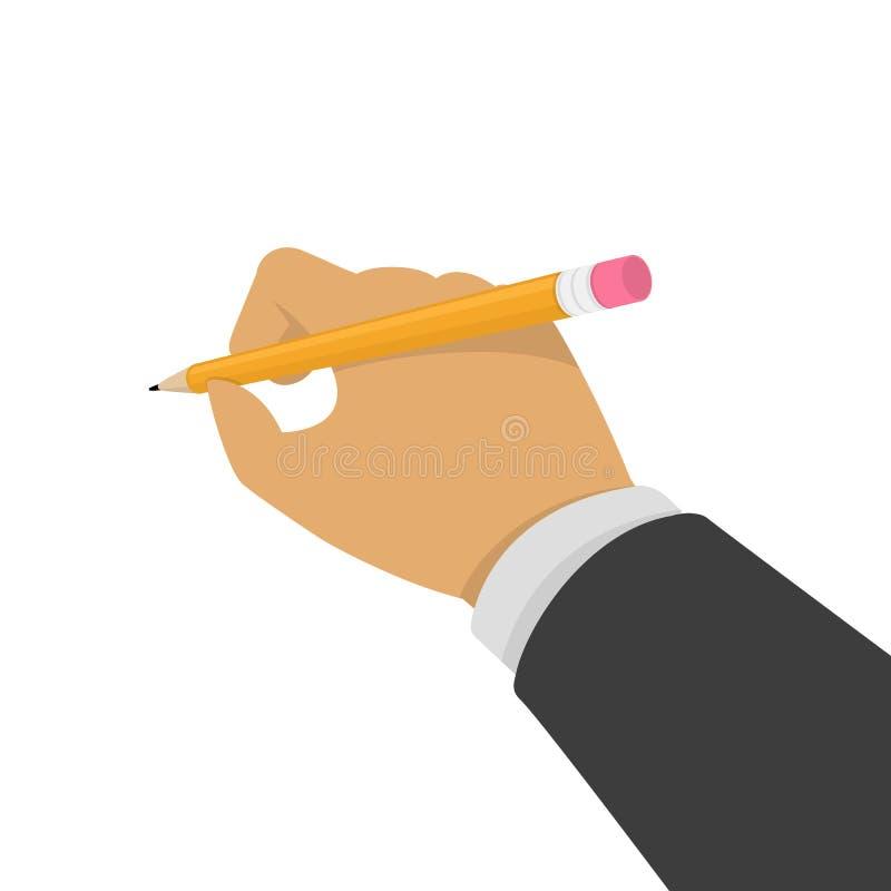 Main avec le crayon illustration stock