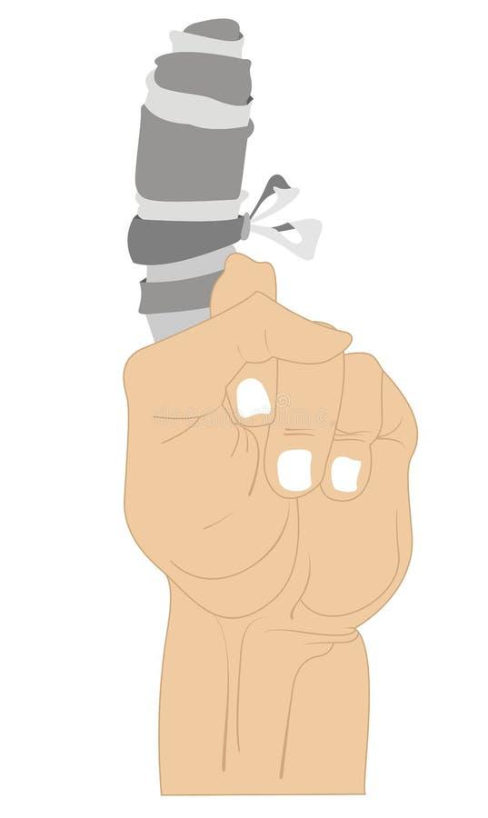 Main avec le doigt blessé de bandage d'isolement illustration libre de droits