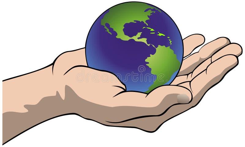 Main avec le globe illustration stock