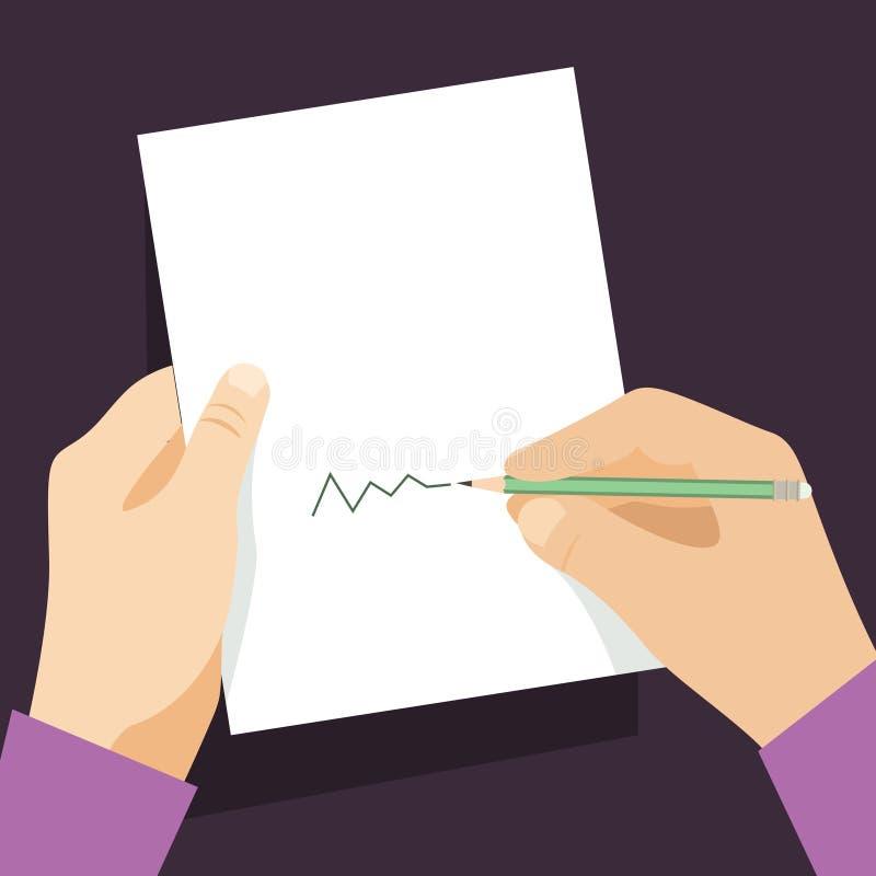 Main avec le papier illustration libre de droits