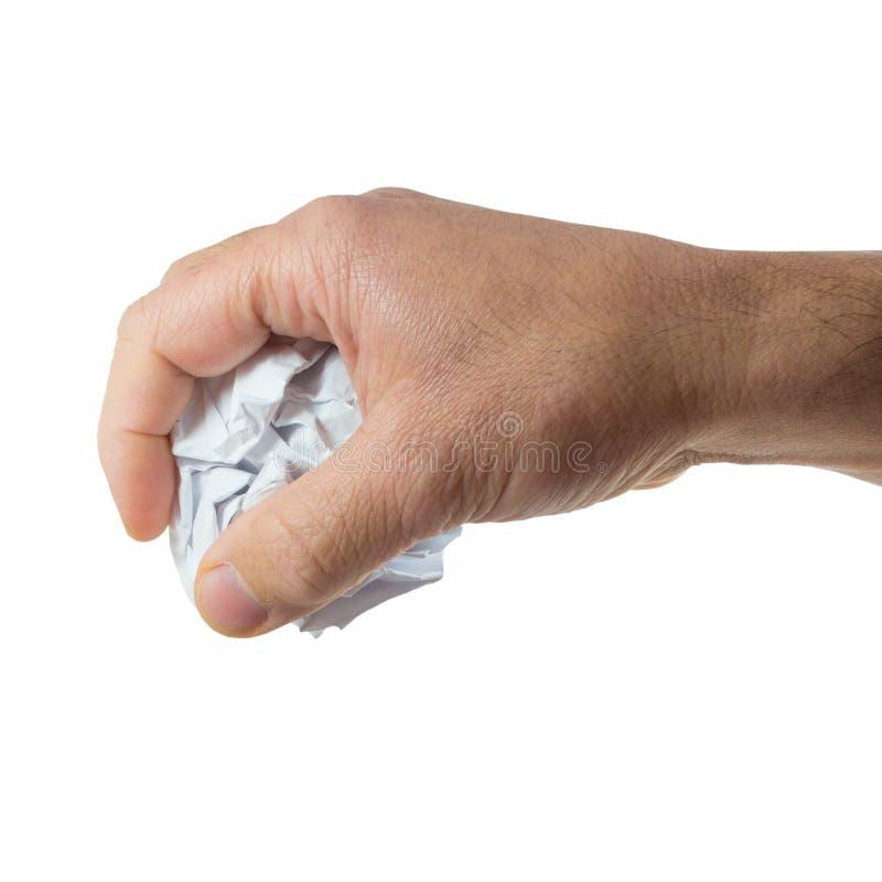 Main avec le papier chiffonné photo stock