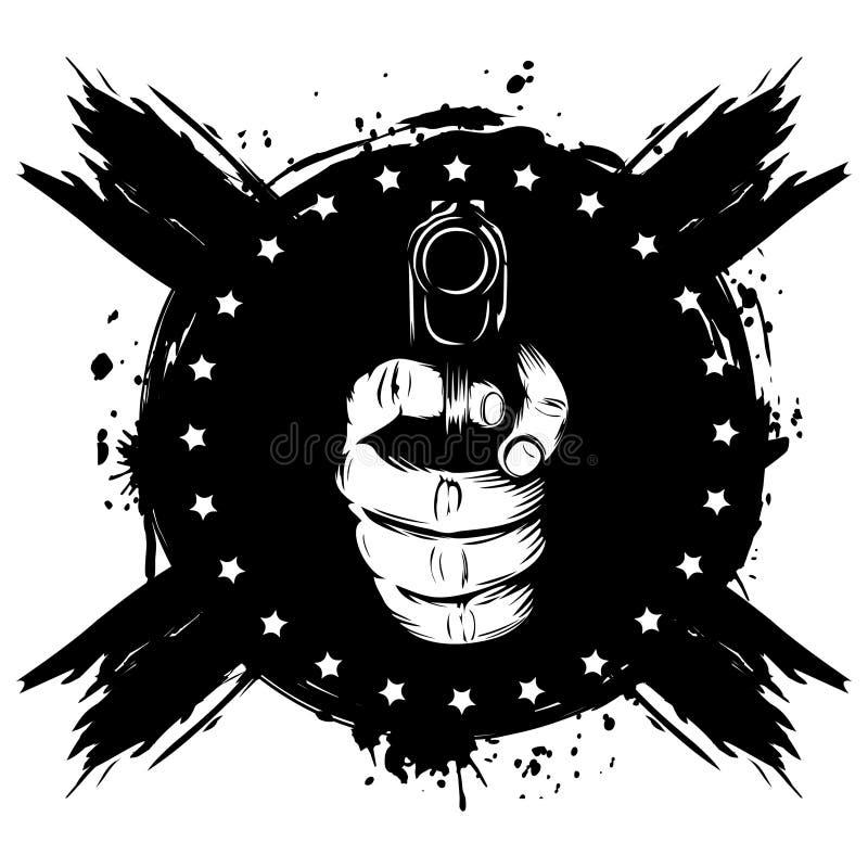 Main avec le pistolet illustration de vecteur