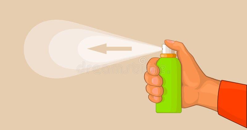 Main avec le pulvérisateur illustration stock