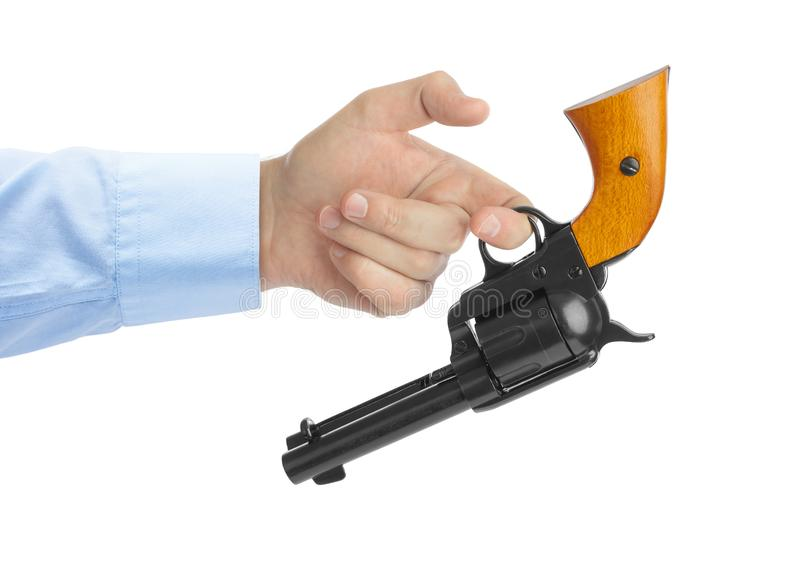 Main avec le revolver image libre de droits
