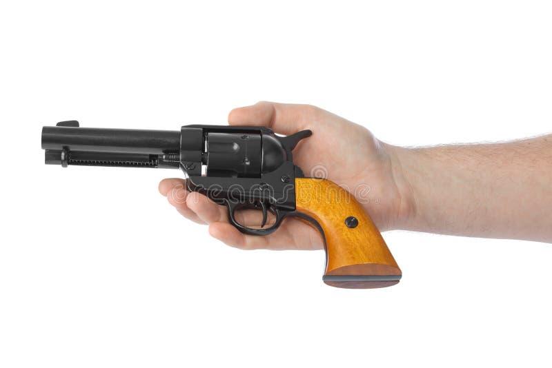 Main avec le revolver photo libre de droits