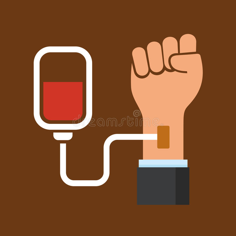 Main avec le sac de sang Icône de donation Vecteur illustration stock