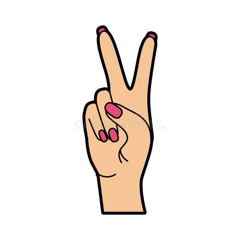 Main avec le signe de paix et l'art de bruit d'amour illustration stock