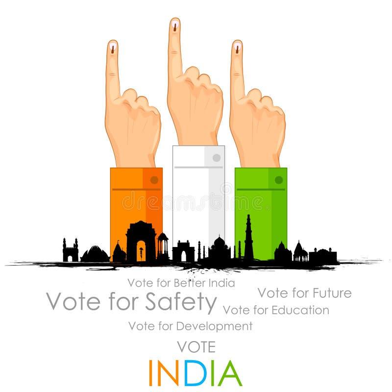 Main avec le signe de vote de l'Inde illustration de vecteur