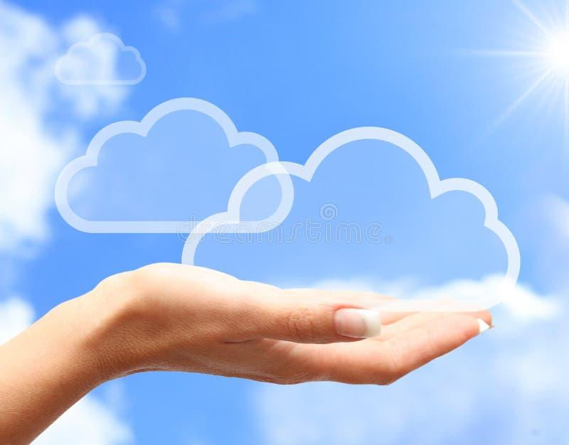 Main avec le symbole de calcul de nuage photographie stock libre de droits