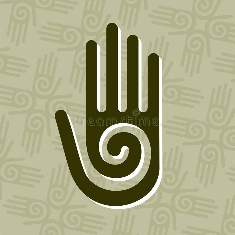 Main avec le symbole spiralé illustration stock