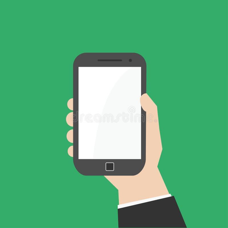 Main avec le téléphone intelligent illustration stock