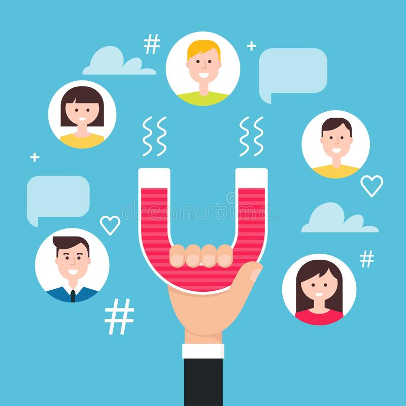 Main avec les disciples s'engageants d'aimant Medias sociaux lançant le concept sur le marché Illustration de vecteur illustration libre de droits