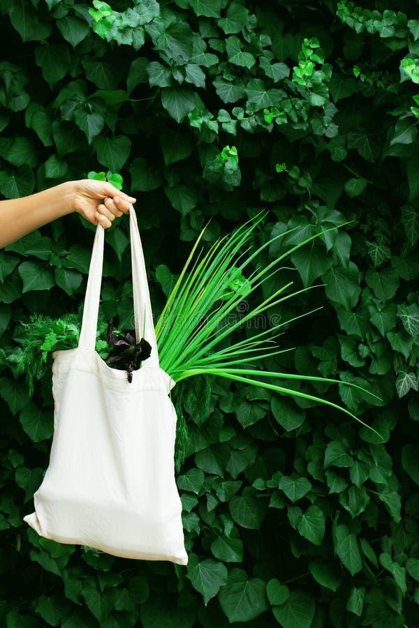 Main avec sac éco sur fond vert vif photo libre de droits