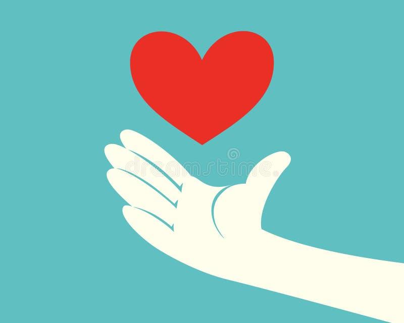Main avec un coeur rouge illustration libre de droits