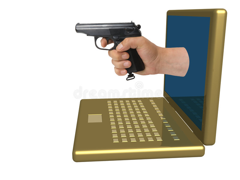 Main avec un pistolet illustration stock